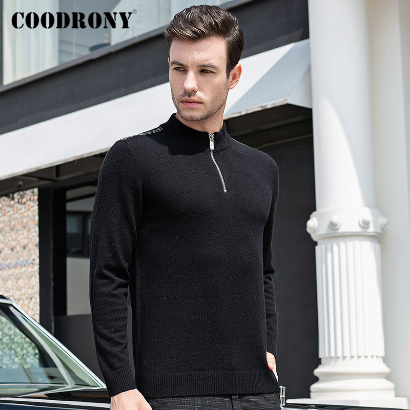 COODRONY Brand Turtleneck Men Zipper Stand Collar Pull Homme Autumn Winter Thick Warm 100% Merino Wool Sweater Men Jersey C3006