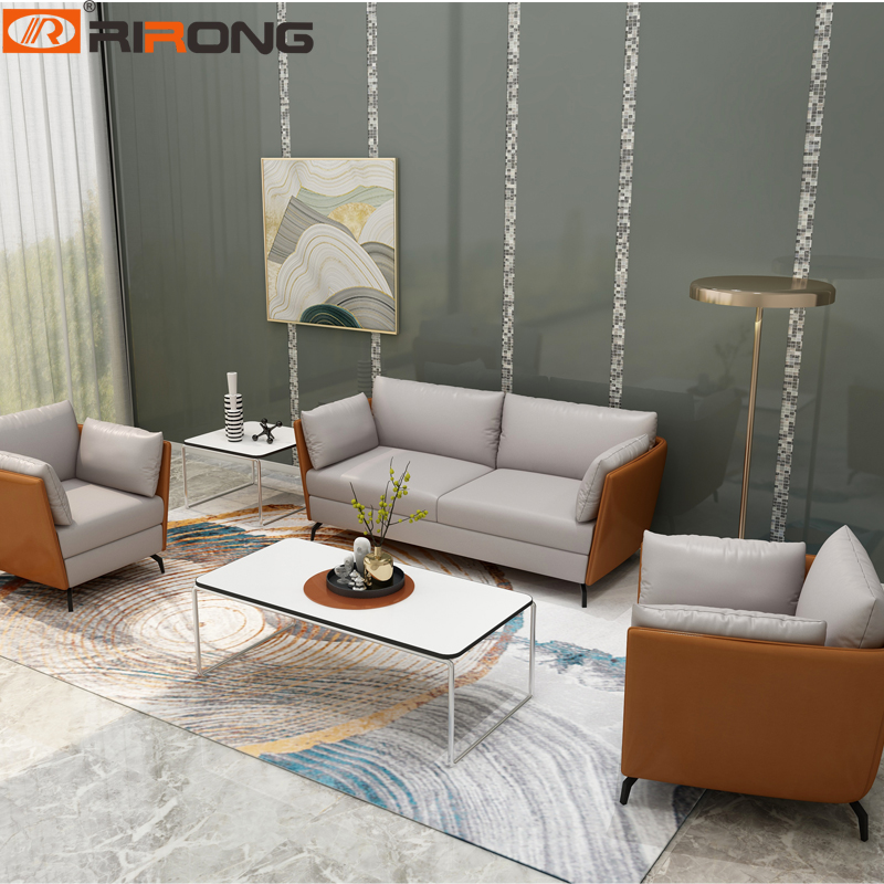 Orange Modern Office Home Hotel Design Leather Office Furniture  Home Office Leisure Sofa Set