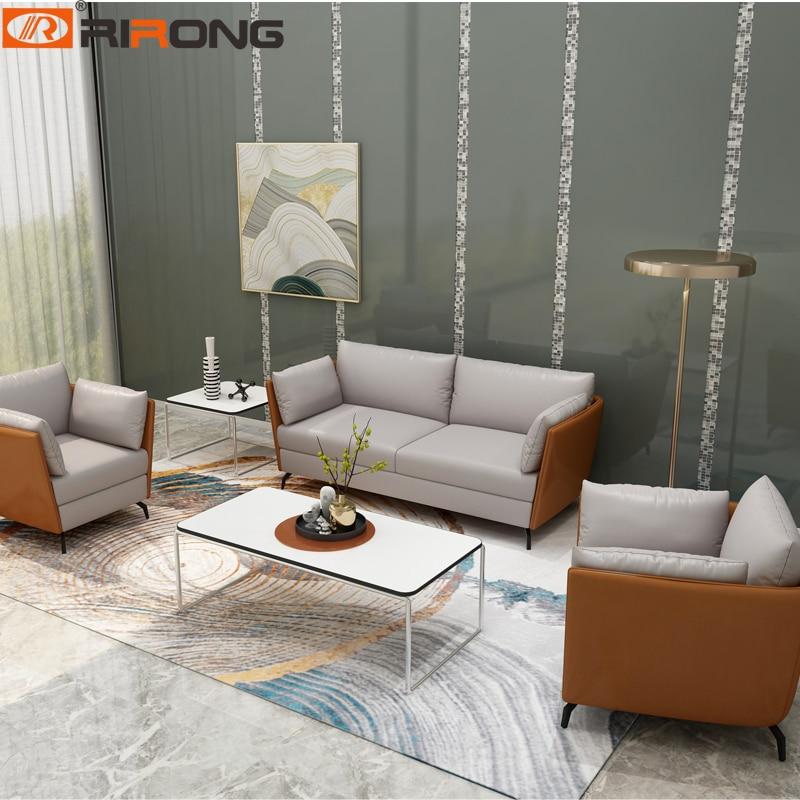 Orange Modern Office Home Hotel Design Leather Office Furniture  Home Office Leisure Sofa Set