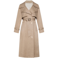 HUAYIMENGYI 2019 New Spring Autumn Fashion Casual Women's Khaki Trench Coat Long Outerwear Loose Clothes For Lady With Belt