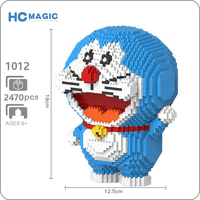 HC 1012 Anime Cartoon Doraemon Blue Cat Animal 3D Model DIY Diamond Mini Building Small Blocks Bricks Toy for Children no Box