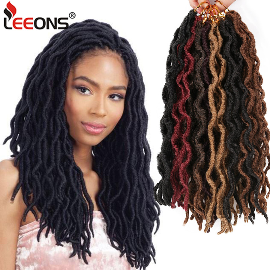 Leeons Wholesale Faux Locs Curly Crochet Braids Hair Extension 6pcs Synthetic Brading Hair Soft Dread Locks Goddess Crochet Locs