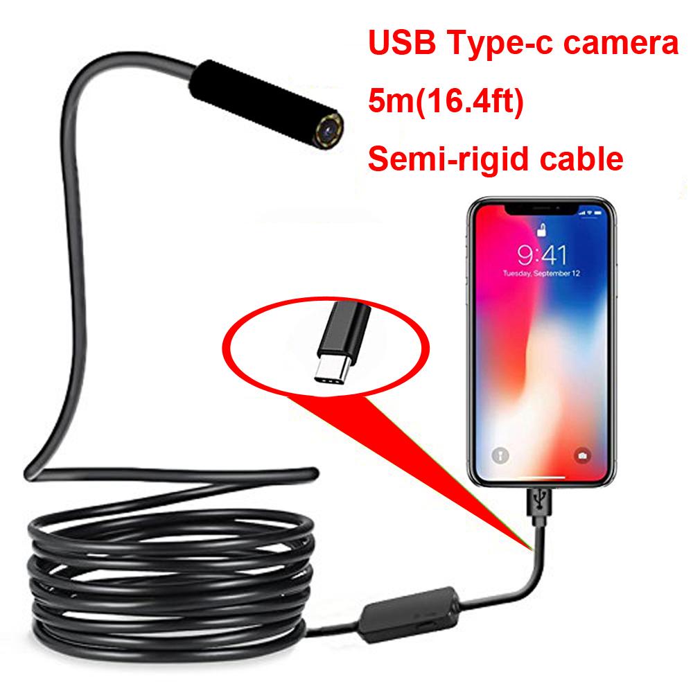 Type-c Android USB Endoscope Camera 7.0mm Hard Cable PC Android Phone Endoscope Pipe Type C Endoscope Inspection Mini Camera