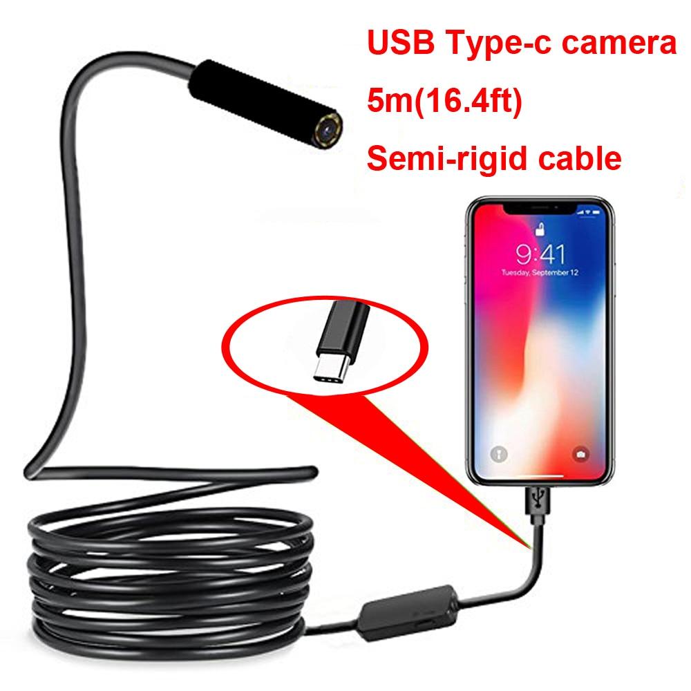 Type-c Android USB Endoscope Camera 7.0mm Hard Cable PC Android Phone Endoscope Pipe Type C Endoscope Inspection Mini Camera