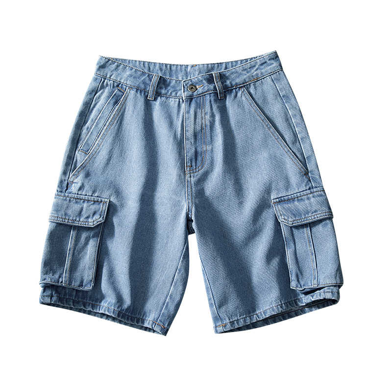 2020 Zomer Stijl Losse Baggy Denim Korte Jeans Fashion Streetwear Hip Hop Cargo Shorts Pocket Bermuda Man Blauw LBZ100