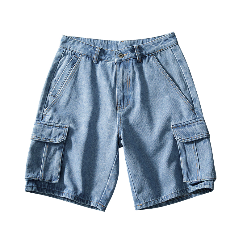 2020 Summer Style  Loose Baggy Denim Short Men Jeans Fashion Streetwear Hip Hop Cargo Shorts Pocket Bermuda Male Blue LBZ100