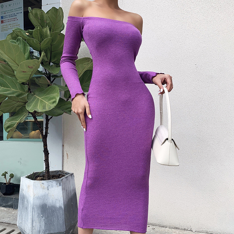 Image 2 - LVINMW Sexy Rib knitted Slash Neck Long Sleeve Slim Dress 2020 Spring Women Fashion Off shoulder Backless Dress Female PartyDresses   -