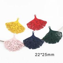 20 pièces/lot en laiton Ginkgo Biloba forme filigrane estampage breloques peint feuilles pendentif pour bijoux bricolage boucle d'oreille faisant 22*25mm