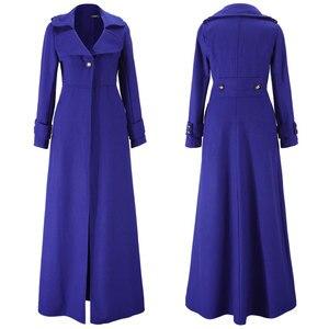 Image 4 - Kış ceket kadınlar sarkaç havalandırma paspaslamak için zemin Overlength fon yün palto rüzgarlık boy uzun siper dış giyim