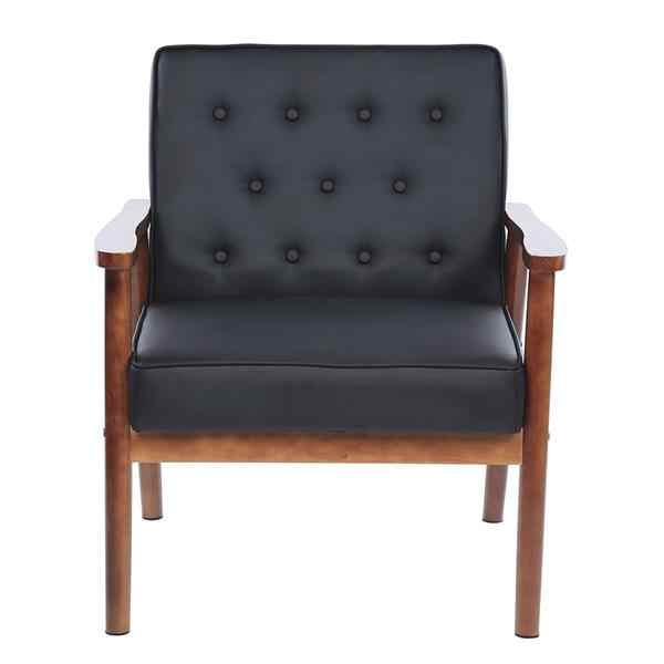 Lounge Stoel Retro.Retro Modern Fabric Upholstered Wooden Lounge Chair Brown Living