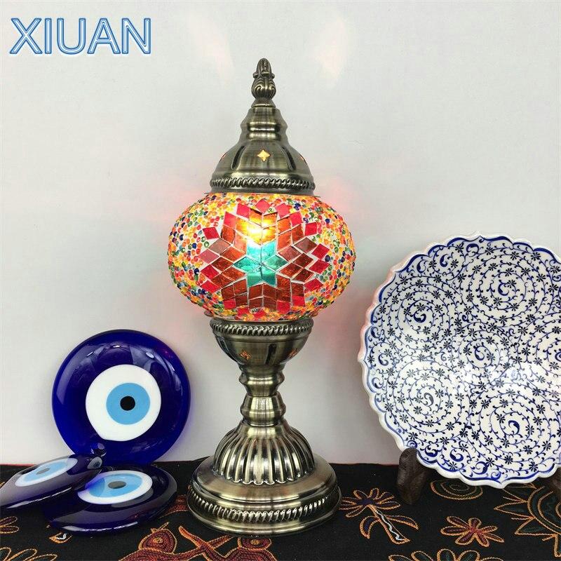 ตุรกีโมเสคโคมไฟตั้งโต๊ะ Stained Glass สีสันสดใสโคมไฟร้านอาหารร้านกาแฟเมดิเตอร์เรเนียน Handmade ห้องนอน ...