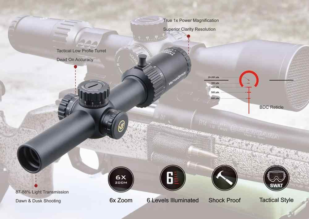Ótica do vetor taurus 1-6x24 ffp ar15 riflescope rifle escopo 1/5 mil bdc 6 iluminação nível se encaixa cqb. 223 5.56. 308win
