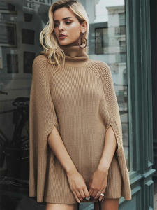Oversized Sweater Pullover Clothing Knitted Turtleneck Camel Batwing-Sleeve Streetwear