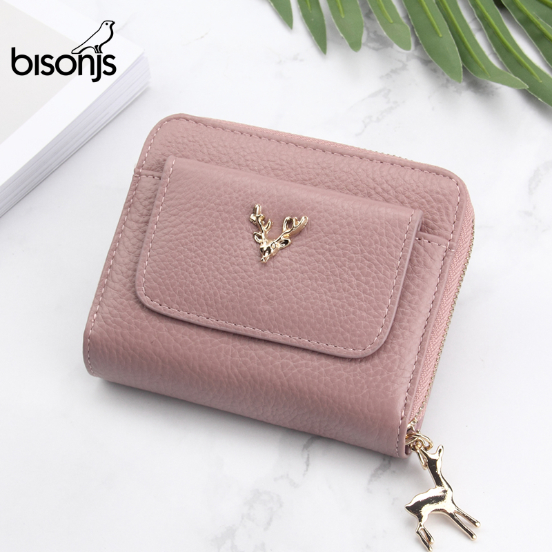 BISON DENIM Genuine Leather Women's Purse Zipper Coin Pocket Wallet Card Holder Female Money Bag Small Carteira Feminina B3306