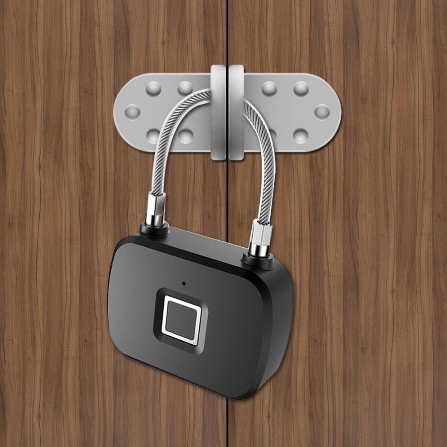 Fingerprint Portable Lock Smart Keyless Anti-Theft LED Padlock for Travel Suitcase Backpacks