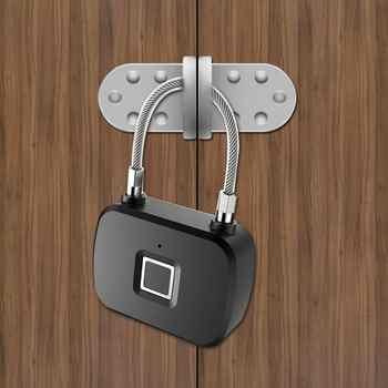 Fingerprint Portable Lock Smart Keyless Anti-Theft LED Padlock for Travel Suitcase Backpacks - DISCOUNT ITEM  44% OFF All Category