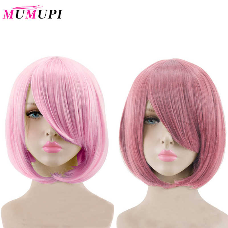MUMUPI Short Straight Hair Synthetic Light Pink Gray Pink 23 Color Cosplay Bob Wig with Bangs Heat Resistant Women Peruca