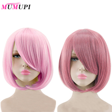 MUMUPI Short Straight Hair Wig Synthetic Light Pink Gray Pink 23 Color Cosplay Bob Wig with Bangs Heat Resistant Women Peruca