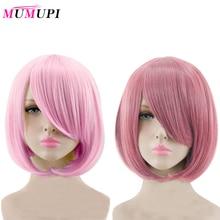 Mumupi Korte Steil Haar Pruik Synthetische Licht Roze Grijs Roze 23 Kleur Cosplay Bob Pruik Met Pony Hittebestendige Vrouwen peruca