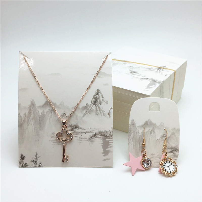 10 Pcs Jewelry Display Card Necklace/pendant/earring Price Card With Two Styles Of Printing Retro Landscape Pattern