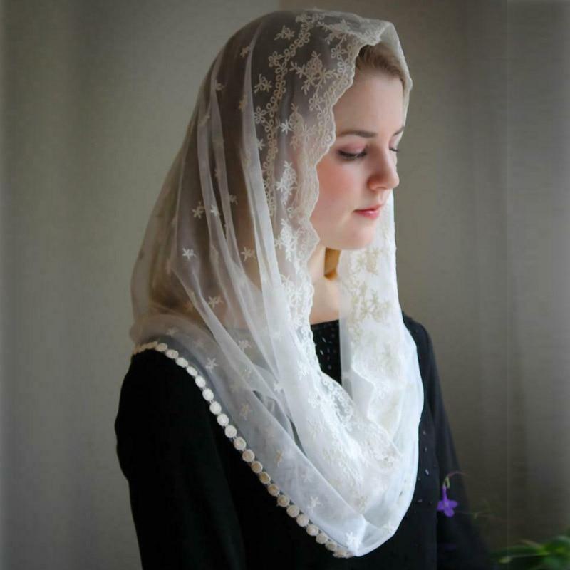 2020 Ivory Black Wedding Cape Muslim Ladies Lace Shawl Scarf Bridal Mantillas For Church Wedding Lace Veil Catholic