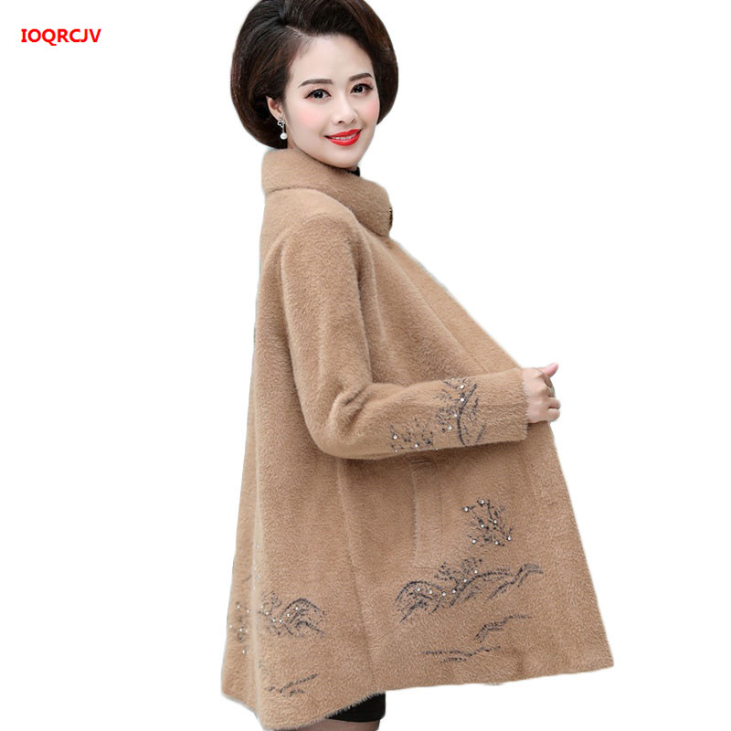 Women Winter Jackets High Quality Thick Imitation Mink Cashmere Sweater Coat Middle-aged Mother Long Sleeve Knit Cardigan Jacket