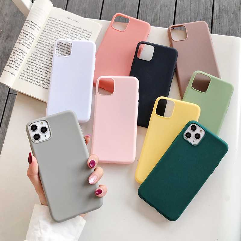 Matte Silicon Ponsel Case Funda untuk iPhone 11 Pro Max X XS XR 6S 6 7 8 Plus SE 2020 5 S 5 Permen Warna Cover