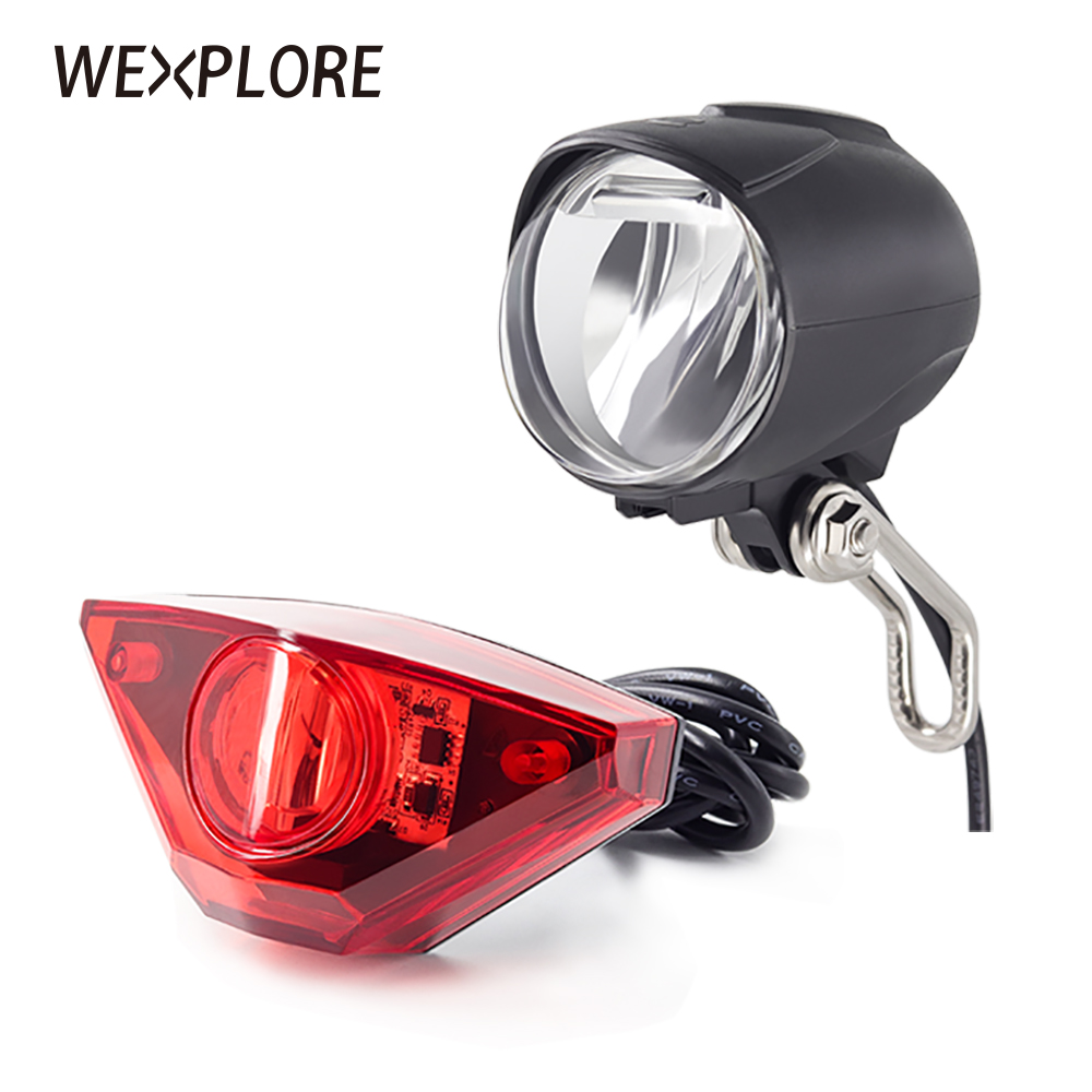 Universal Voltage Ebike Headlight Front Light LED Lamp Horn for Electric Bicycle