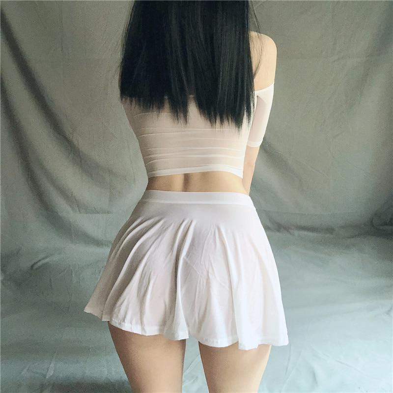 Sexy Skirt 2020 Solid Color Ice Silk Lotus Leaf Pendulum Transparent Nightclub Party Mini Skirts Womens Jupe Femme Faldas Korean