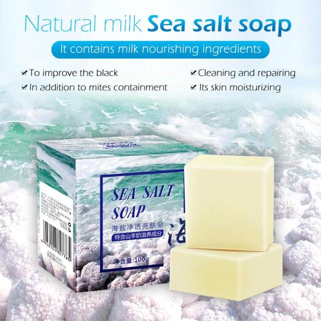 HOT 100g Sea Salt Whitening Soap Cleaner Removal Pimple Pores Acne Treatment Goat Milk Moisturizing Face Wash Soap Skin TSLM1 3