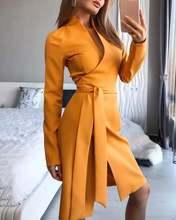 Женское платье миди с v образным вырезом длинным рукавом и разрезом