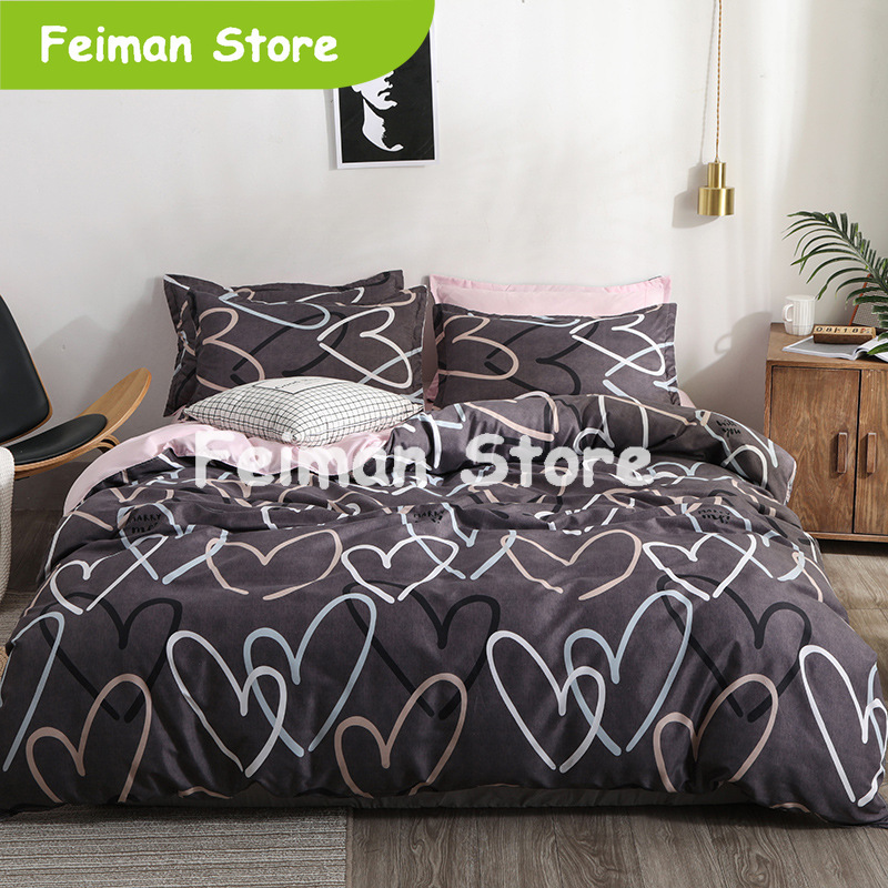 Heart Printing Bedding Set 3/4pcs Bed Linens Home Textile Duvet Cover Set Classic Bedclothes Modern Sheet Pillowcase King Bedset