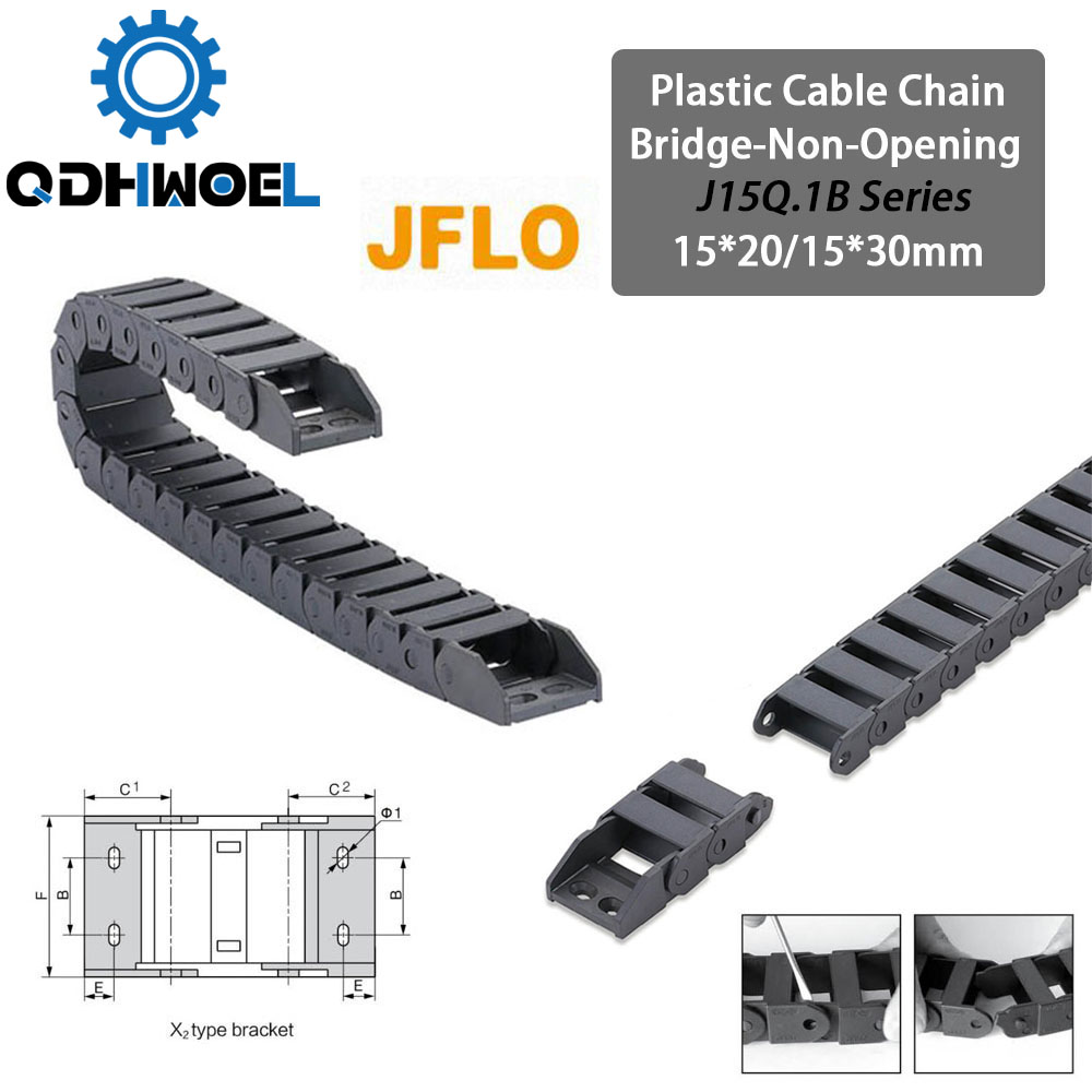 Drag Cable Chain J15Q.1.B 15*20 15*30mm Bridge Type Non-Opening 1 Meter Plastic Towline Transmission Drag Chain for Machine