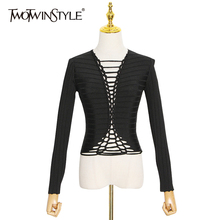 TWOTWINSTYLE Hollow Out Striped T Shirt For Women O Neck Long Sleeve Sexy Short Tops