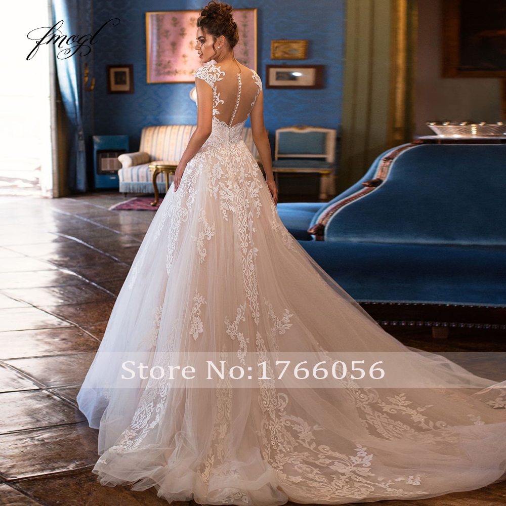 Image 2 - Fmogl Sexy Illusion Scoop Neck Lace A Line Wedding Dresses 2020 Luxury Appliques Cap Sleeve Court Train Vintage Bridal GownsWedding Dresses   -