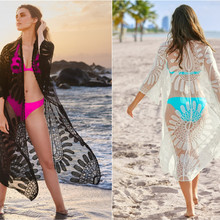Beach Skirt Dresses Outings Coverup Capes For The Sea And Women's Beachwear 2020 Mesh Embroidered Over Sun Shirt Animal
