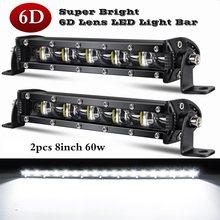 2 pces 6d lente led barra de luz 8 polegada 60w conduziu a barra de luz do trabalho holofote drl para offroad atv suv caminhão trator barco luz de condução automática
