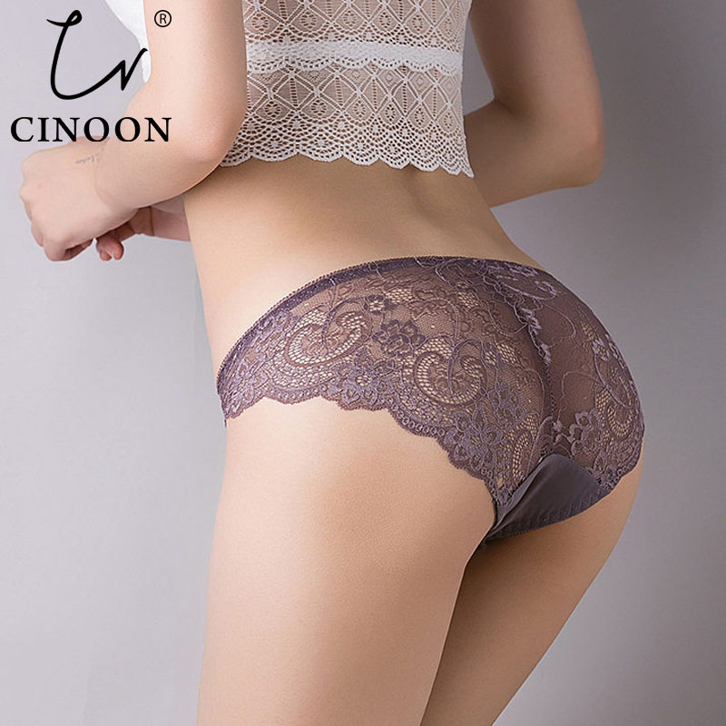 CINOON Plus Size Panties Sexy Lace Transparent Underwear Tempting Pretty Briefs High Quality Low Waist Women's Underpants