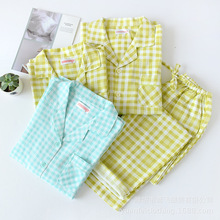 New 100% Cotton Double Layer Yarn Couple Pajamas Plaid Printing Sleepwear Spring Long Sleeves Soft Home Clothes 2 Piece