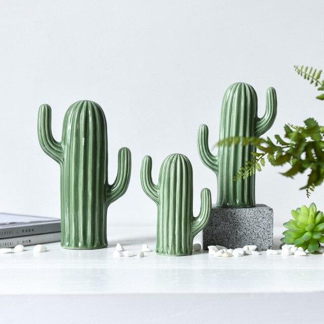 Figurines de Cactus en céramique   Décoration créative de Style nordique, décoration de salon et de bureau, Simulation de plantes vertes, décoration de la maison