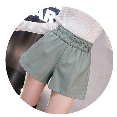 shintimes Elastic High Waist Wide Leg Biker Shorts Autumn PU Leather Shorts Women Plus Size Femme Casual Ladies Shorts Black 10