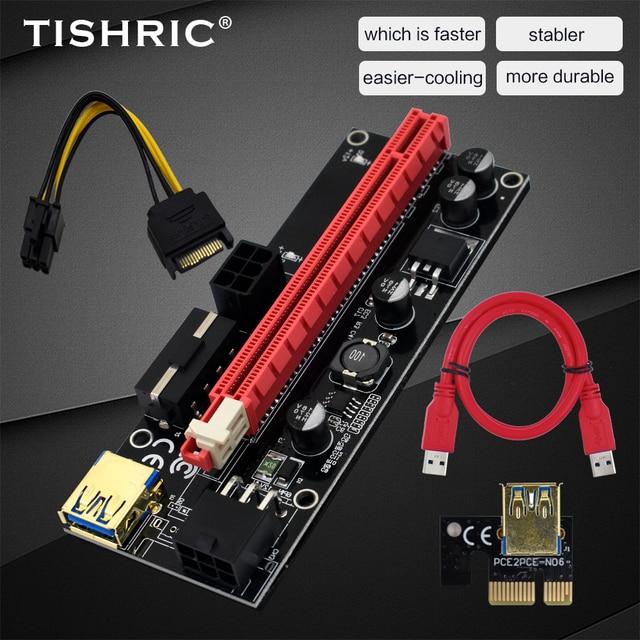 TISHRIC 009S PCI E Riser Card Extender USB 3.0 Adapter Cable PCI 1X 4X 8X 16X Extender riser for video card For GPU Miner Mining