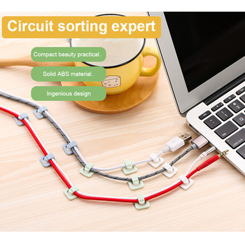 18 jednostek samoprzylepne zaciski do kabli Organizer przewód doprowadzeniowy uchwyt przewód zarządzanie przewody zasilające przewody ładujące kable USB oplot na kable tanie i dobre opinie CN (pochodzenie) Self-affixed wire holder packing 18 units ABS material Support