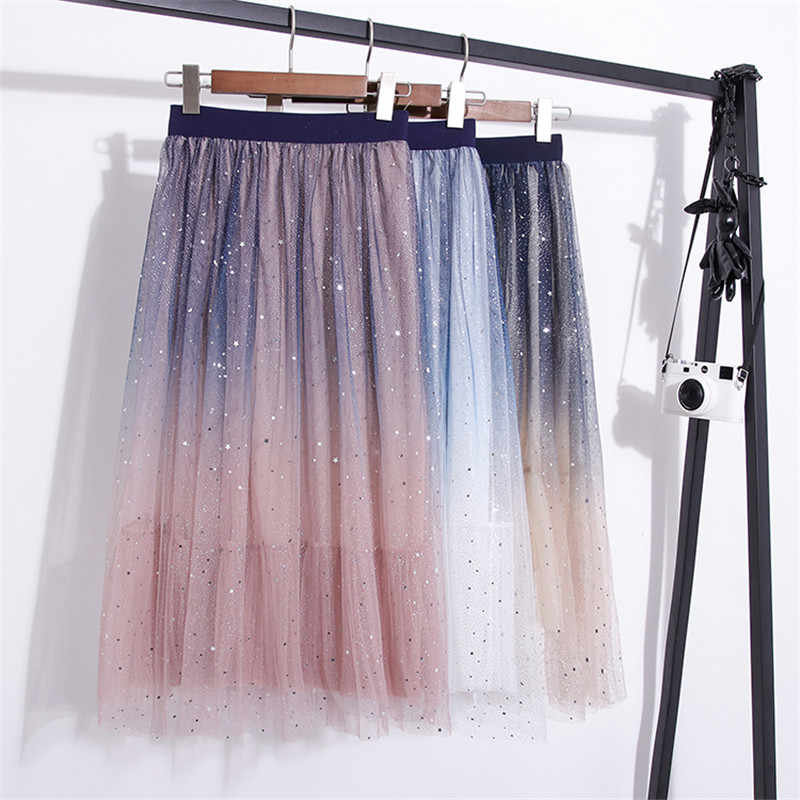 Women Glitter Sequined Stars Tulle Skirt Women Sheer Mesh Maxi Length Skirt Pleated Mesh Ladies Skirts Pink White Apricot