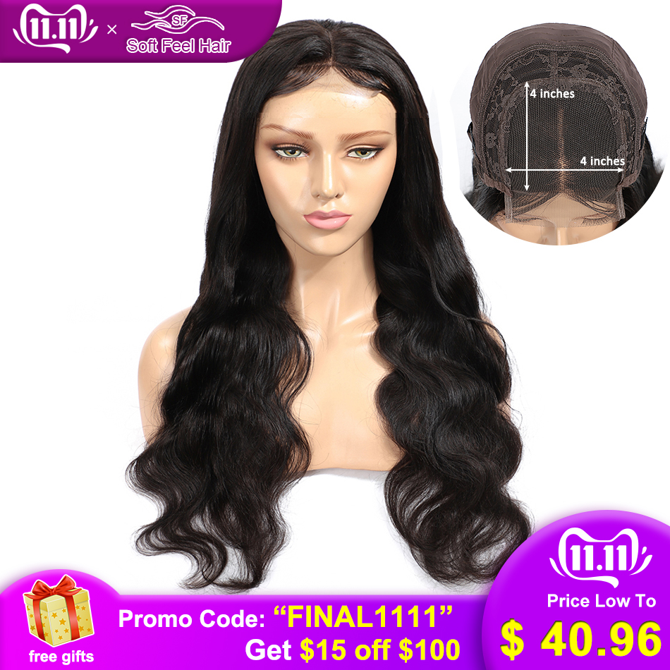 Soft Feel Hair 4*4 Lace Closure Human Hair Wig With Baby Hair Remy Brazilian Body Wave Closure Wigs For Black Women Middle Ratio