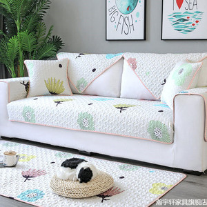 Image 4 - Four seasons universal sofa cushion, non slip Nordic cotton cotton fabric back towel all inclusive universal cover
