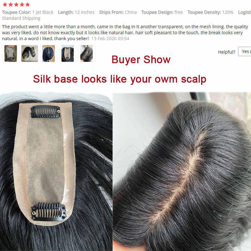 סגו 6x13cm ישר משי בסיס שיער טופר פאה עבור נשים טבעי צבע שיער חתיכה קליפ שיער תוספות ללא רמי שיער