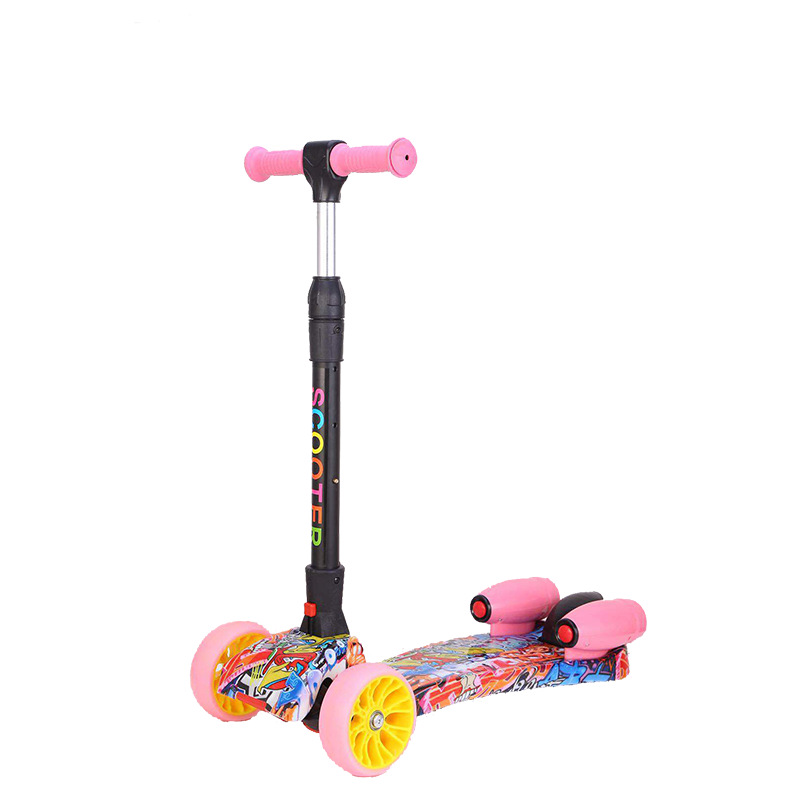 Wholesale Children Spray Skateboard Music Three Rounds Flash Colorful Lights Folding Kids 3 12 Year Old Pedal Slippery Cars|Kick Scooters Foot Scooters| |  - title=