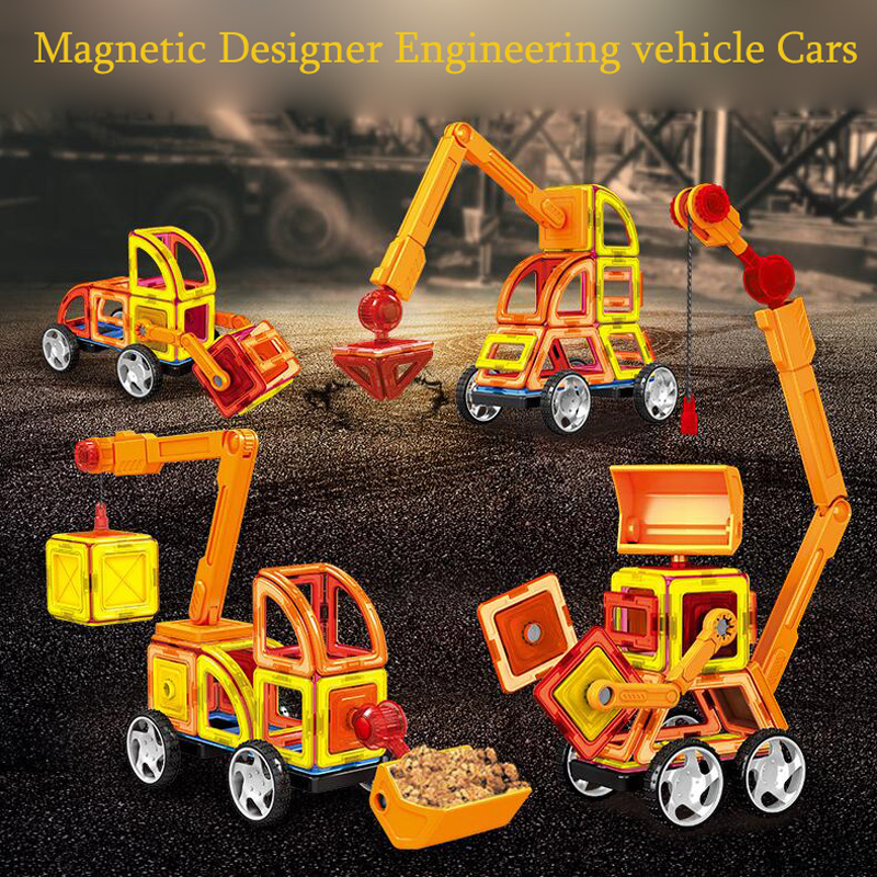 138 PCS-Magnetic Blocks with Wheels,Magnetic Building Blocks Set