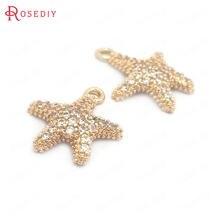 Breloques en laiton et Zircon, 6 pièces, 12x14MM, 24K, couleur or, breloques en forme d'étoile de mer, pendentifs, fournitures pour la fabrication de bijoux, accessoires de bricolage, 39603